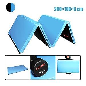 CCLIFE 200x100x5cm Blau&Schwarz Klappbare Weichbodenmatte Turnmatte...