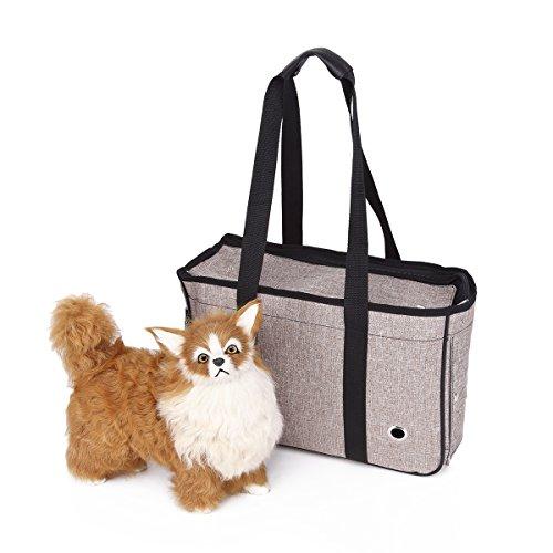 YiHao Transporttasche für Haustiere, Haustiertragetasche Kleintiere Box für Hunde Katzen Tragetasche Haustier Tragetasche Pet Travel tragbare Tasche Reise Trägerkäfig,3971 (50cm*30cm*17cm, Licht tan)