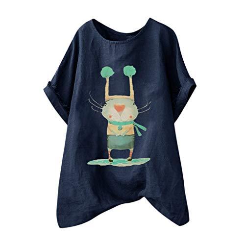 ose Baumwolle Und Leinen Charakter Oansatz Kurzarm Hemd Bluse Kurzärmliges Hemd Mit Rundhalsausschnitt Und Losem Cartoon Print Aus Baumwolle Und Leinen ()