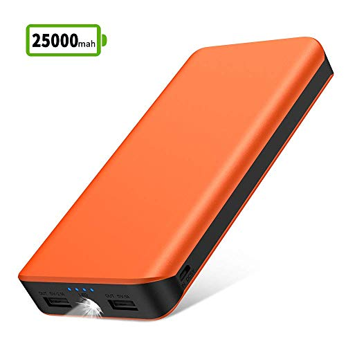 Powerbank 25000mAh Tragbares Handy-Ladegerät hohe Kapazität Externer Akku mit LED-Taschenlampe, 4 Betriebsanzeige, Dual-Anschlüsse Power Bank für iPhone iPad Samsung Android Kameras PSP-Tablets