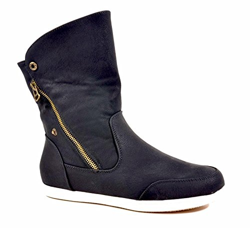 King Of Shoes Damen Stiefeletten Stiefel Flache Schlupf Boots Reißverschluss Warm Gefüttert B854 Schwarz