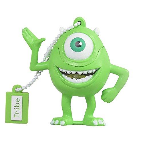 Tribe disney pixar monster & co. mike wazowsky chiavetta usb da 16 gb pendrive memoria usb flash drive 2.0 memory stick, idee regalo originali, figurine 3d, archiviazione dati usb gadget in pvc con portachiavi - verde