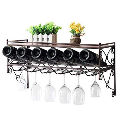 KOSHSH 12 Weinglasständer 6 Weinflaschenhalter Wandbehang Montiert Wein Champagner Glas Becher Stemware Rack Holder Für Kitchen Bar -