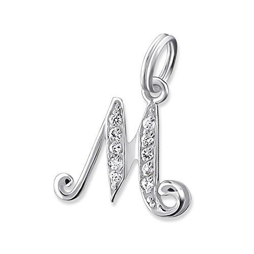 Bungsa Buchstabe M Halsketten-Anhänger Buchstaben 925 Sterling Silber mit Kristallen - Kleiner Buchstabe M Charm für Bettel-Armband - für Damen, Kinder & Herren - Silberner Letter M
