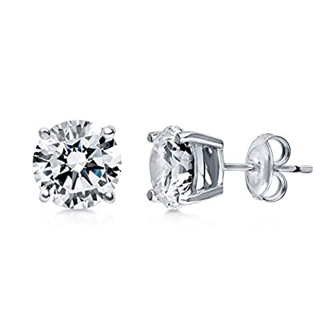 BERRICLE Rhodium Plated Sterling Silver Round Cut Cubic Zirconia CZ Solitaire Stud Earrings 8mm