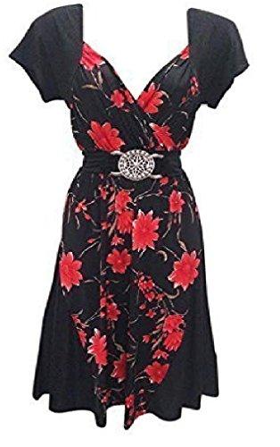 Holidaysuitcase - Femmes grande taille Fête de noël soirée flatteur contraste robe 12 -26 UK Noir/rouge