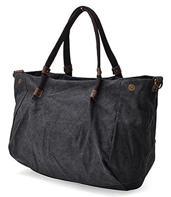 Gootium 20701 Schwarze leinene Damentasche mit Schulterriemen
