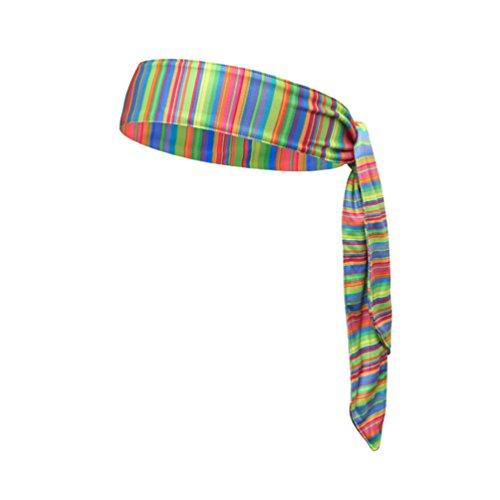 Yuanu Unisex Sport Stirnband Haarband Regulierbares Cool Schweißband für Running Yoga Basketball Regenbogen One Size -