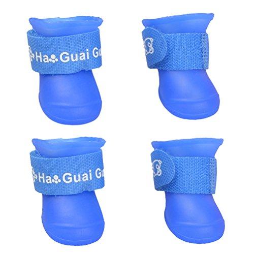 UEETEK Botas de lluvia para Perro mascota Colores dulces Zapatos de goma antideslizantes a prueba de agua para Pequeño perrito - Talla M (Azul)