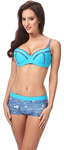 Denim Bikini (Merry Style Damen Bikini Set MSVR725 (Blau Jeans/Blau, 40))