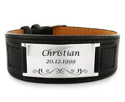 Neu Leder Armband mit Gravur nach Wunsch mit Box schwarz, Edelstahl