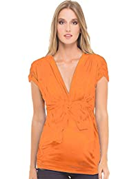 abb18c2264c87 Olian Mandy Modal Short Sleeve Grecian Tie Front Maternity Top