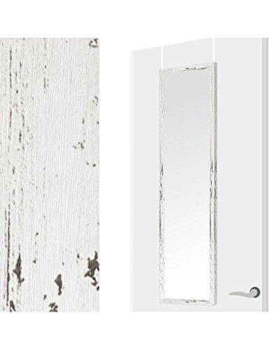 Espejo para Puerta Moderno, Color Decapé Blanco, para Dormitorio, sin Agujeros 34,7cm X 1,5cm X 125cm...