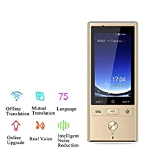 CIGONG Digitale spraak vertaling apparaat, IPS capacitive touch screen, ondersteuning 75 vertaling Vertaler (Color : Gold)