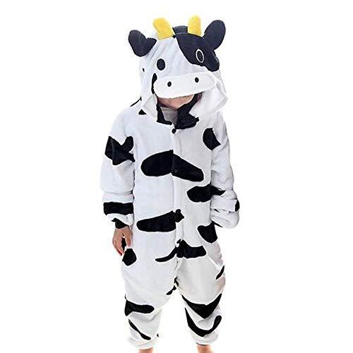 Tier Kostüme Schlafanzug Mädchen Jungen Winter Nachtwäsche Tieroutfit Cosplay Jumpsuit Kuh Körpergröße 105-114cm ()