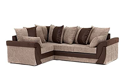 Lush Corner Sofa in Brown&Beige, Faux Suede and Jumbo Cord Fabric from Abakus Direct