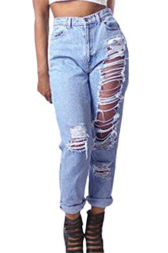 Frauen Rissen Löcher Gerissen Zu Hohe Taille Tasche Knöpfen Sie Lange Hosen Blue S