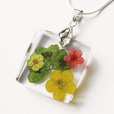 Pendentif Trèfle en argent 925, résine et fleurs - Bijou nature Bouton d'or et fleur rouge Collier en fleurs séchées colorées