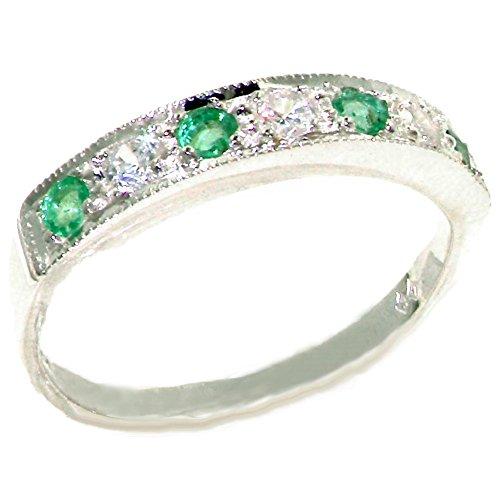 Luxus Damen Ring Solide 18 Karat (750) Weißgold mit Smaragd und Zirkonia - Verfügbare Größen : 47 bis 68