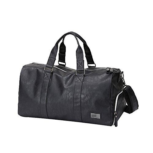Business Travel Taschen Herren Leder Tragetaschen Große Kapazität Kurze Reisen Reisetaschen Fitness Taschen Schultern Messenger Bags,Black-L