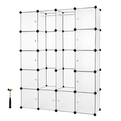 SONGMICS Armoire Penderie Cubes étagère de Rangement modulables Plastiques Cadre en métal Blanc (2 Barres à vêtement) 143 x 36 x 178 cm (L x l x h) LPC30W