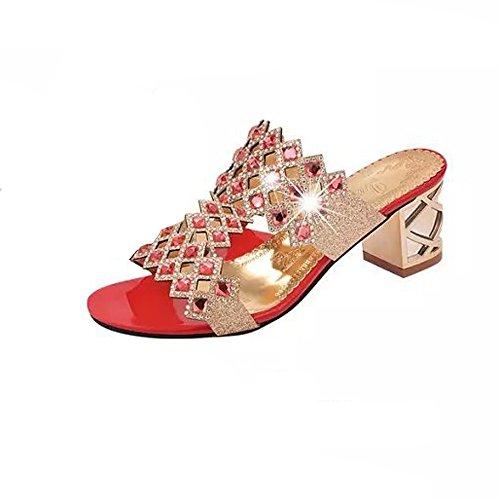 Sandalen Sannysis Damen Sommer Mode Frauen Mädchen Große Strass High Heel Sandaletten Damen Strand Sandale Flip Flops Bohemia Flach Zehentrenner Sandalen -