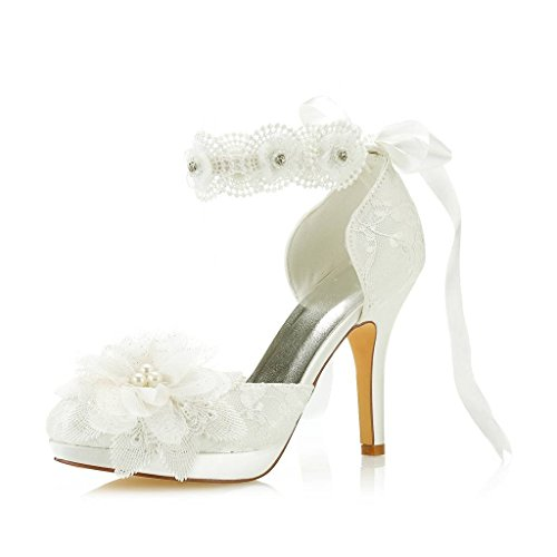 d543793728f2a Mrs Right 3703L Women's Bridal Shoes Closed Toe Stiletto Heel Lace Satin  Platform Pumps Satin Flower Ribbon Tie Wedding Shoes Colour Ivory,Size 3 ...