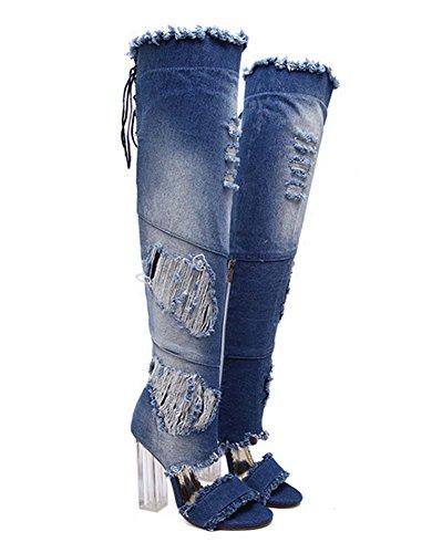 L&Y Donne Open Toe Pumps Sandali Cowboy Stivali spessi in cristallo di alto fascino Boots High Heel Cowboy