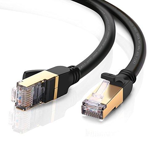 UGREEN 5m Ethernet Kabel Cat7 Gigabit Lan Netzwerkkabel RJ45 Patchkabel 10Gbps 600Mhz/s STP molded Verlegekabel für Switch, Router, PS3, PS4, Netzwerkadpter, PC, Modem, Netzwerkdose, Patchpannel, Access Point, Patchfelder, Schwarz