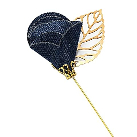 MGS Men's Corsage Lapel Stick Pin Brooch Flower Rose Leaf Fabric Copper Dark Blue Golden Suit Shirt Banquet Party Wedding Gift