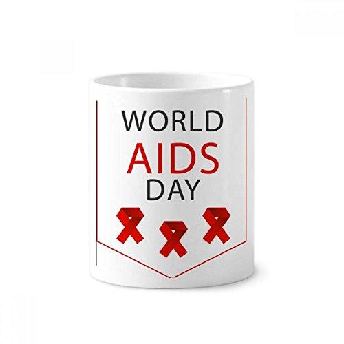 DIYthinker AIDS-Tag Red Ribbon HIV Awareness Keramik Zahnbürste Stifthalter Tasse Weiß Cup 350ml Geschenk 9.6cm x 8.2cm hoch Durchmesser