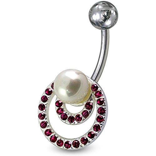 Multi lila Kristall Steinen Stein Lust Kreis mit Perle Sterling Silberbarren Bauch Piercing