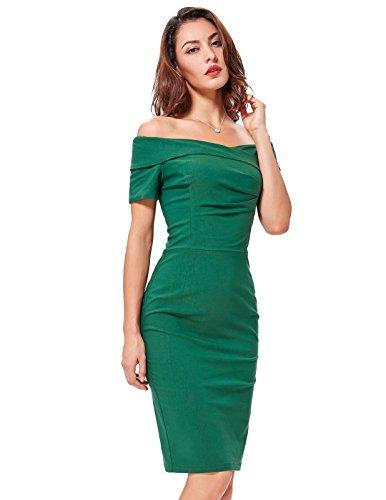 Belle Poque Damen Retro Vintage Schulterfrei V-Ausschnitt Kurzarm Paket Hüfte Stoffdruck Kleid Dunkelgrün(BP0158-4)