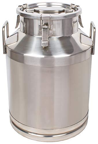 Beeketal \'BMK-50\' Milchkanne Transportkanne 50 Liter aus Edelstahl, auslaufsicherer Deckel mit Spannverschluss und Gummidichtung, Molkerei Milch Kanne zum Transportieren oder zur Aufbewahrung