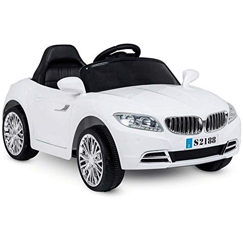 BAKAJI Auto Elettrica per Bambini Coupè Sport Cabrio Batteria 6V con Porte Automatiche 3 velocità Musica Luci MP3 Slot SD Card Sedile Monoposto e Telecomando (Bianca)