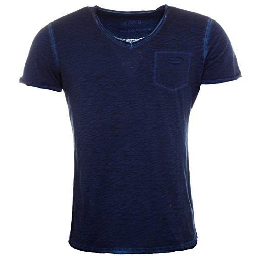 Key Largo Herren vintage used destroyed Look uni T-Shirt Soda new v-neck tiefer V-Ausschnitt slim fit tailliert einfarbig T00619 Dunkelblau