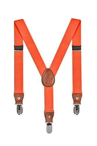 Baby Kinder Hosenträger Einfarbig Gürtel Elastisch Leder 3 Clips Jungen Mädchen Hosen Röcke Tutu Shorts Bequem Träger - Orange (Orange Shorts Kostüm)