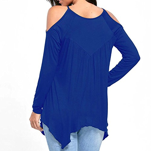 Yalatan Chemises D'Épaule Froide des Femmes Évider Tops T-Shirt à Manches Longues en Dentelle Blouse Bleu