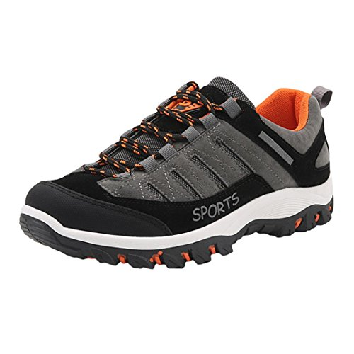 Herren Kletterschuhe Schuhe Schnürsenkel SOMESUN Sport Turnschuhe Wander Beiläufige Wasserdichte Rutschfeste Schuhe (41, grau)