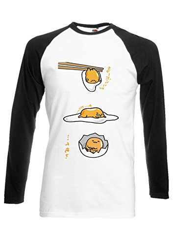 Gudetama Lazy Egg Kawaii FUNNY Japan Black/White Men Women Unisex Long Sleeve Baseball T Shirt-XXL par  NisabellaLTD