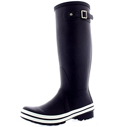 Pioggia In Gomma Impermeabile Equestre Polare Stivali Viola Corte Donne Scuro Grande Neve Da qvp0w