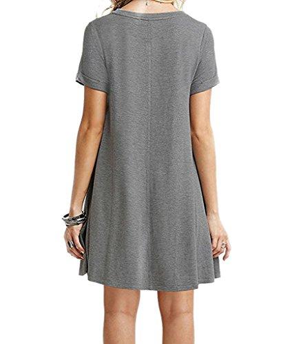 Nergivep Damen Kleid Grau