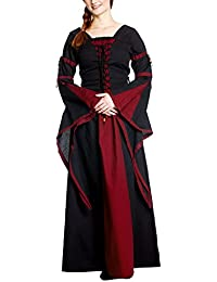 Medieval LARP Gothic Lace Up Dress, Red/Black