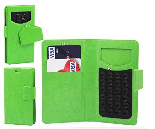 Pour HTC Desire 326G dual sim Portefeuille et étui de protection à ventouses en cuir PU très fin de très grande qualité avec stylet et Écouteurs intra-auriculaires - Blanc/White - par Gadget Giant® Vert/Green