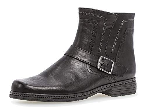 Gabor Damen Biker Boots 94.672,Frauen Stiefel,Stiefelette,Halbstiefel,Bikerstiefelette,Bootie,hoch,Blockabsatz 2.2cm,F Weite (Normal),schwarz,UK 7.5