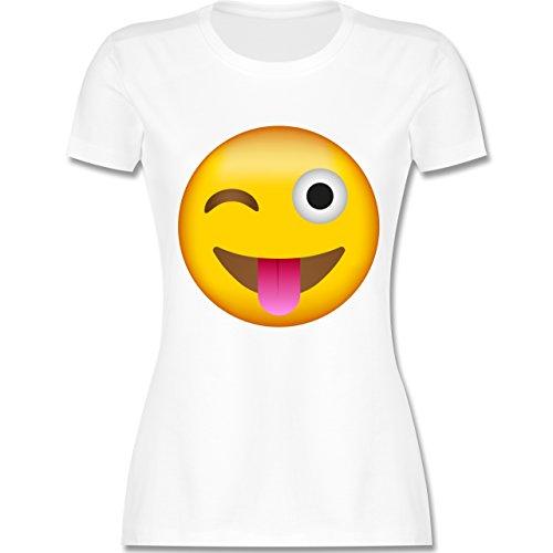 Shirtracer Comic Shirts - Emoji Herausgestreckte Zunge - Damen T-Shirt  Rundhals Weiß