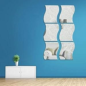 6 Stück Spiegelblätter Flexibler Nicht Glas Spiegel Kunststoff-Spiegel Selbstklebende Fliesen Spiegel Wandaufkleber…