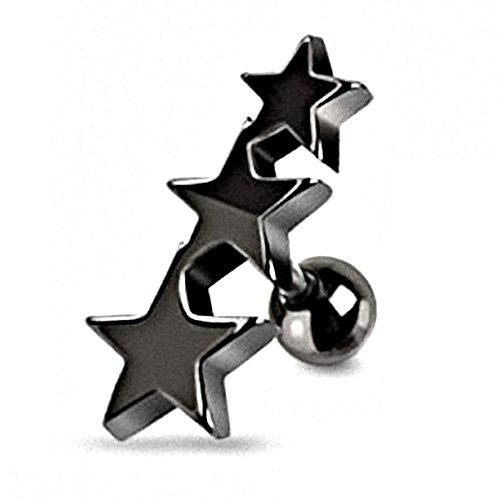 Kultpiercing Tragus Ohr Piercing Stars Helix schwarz