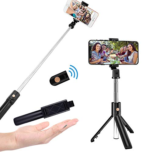 HCLKSTORE Bluetooth Bastone Selfie, Estensibile Portatile Selfie Stick Treppiede on Telecomando Wireless, Universale Compatibile per iPhone/Samsung/Huawei And More (Nero)