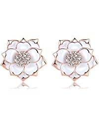 Zorah Rose Gold Plated Enamel Flower Shaped Stud Earrings For Women With Austrian Crystals SWA Elements-Rose Gold